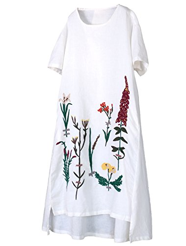 (Minibee Women's Embroidered Linen Dress Summer A-Line Sundress Hi Low Tunic Clothing White 2XL)