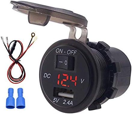 KIMISS車のUSB充電器、12V IP66 2.4A LEDデジタル電話充電器23.6inライン付き独立スイッチアダプター(赤)