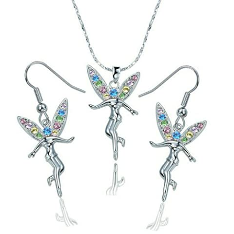 Yoursfs Tinkerbell Jewelry Sets 18K White Gold Plated Angle Pendant Necklace Hook Earrings Set with Colorful CZ