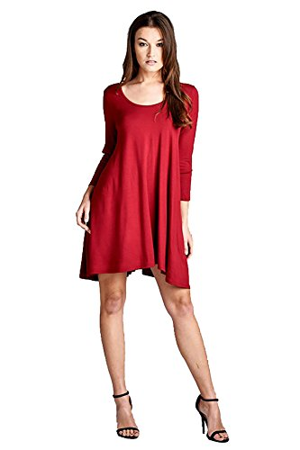 Dress 3 V Cherish up D5355 Women's Back Loose 4 Lace Tunic Sleeves Detail Scoop Red Fit qqA70t