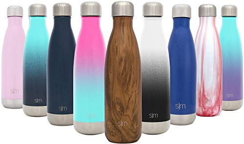 Simple Modern 34 oz Wave Water Bottle - Stainless Steel Liter Double Wall Vacuum Insulated Leakproof Swell Thermos Pattern: Wood Grain