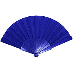 "Just Artifacts Decorative 9"" Folding Silk Hand Fans w/ Plastic Handle (Set of 10, Royal Blue)"