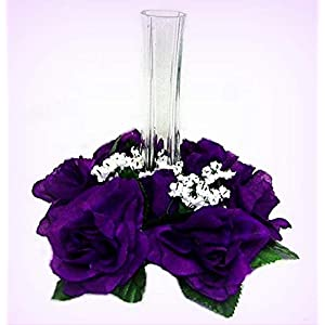 Inna-Wholesale Art Crafts New Purple Candle Ring Centerpieces Silk Roses Decorating Flowers Unity Candle Party - Perfect for Any Wedding, Special Occasion or Home Office D?cor 15