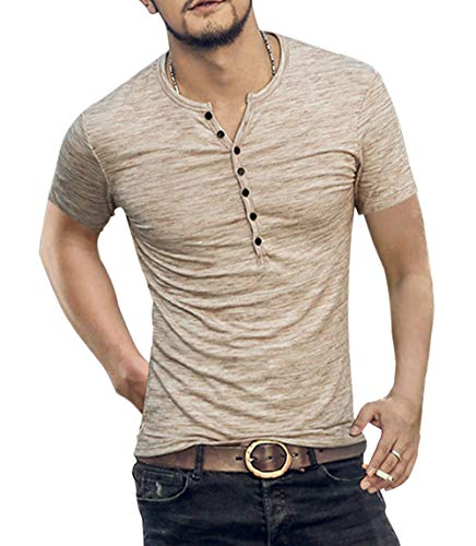 Men's Soild Henley Short Sleeve Tops Buttons Front Casual T Shirts Tee (XL, - Casual Shirt Beige