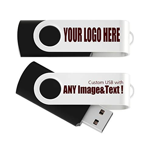 25 Pack 4GB USB Flash Drive Custom USB Thumb Drive Promotional Memory Stick Personalized Logo Jump Drive Twister Swivel Design in Bulk - PMS