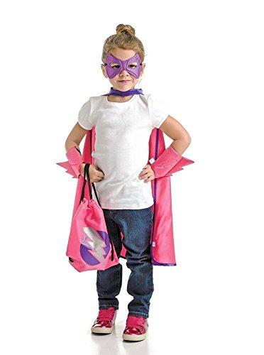 Little Adventures Little Adventures26018 Drawstring Backpack Super Hero Costume Gift Set for Girls - One-Size (3-5 Years)