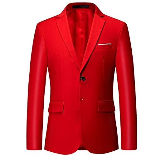 - Mens Slim Fit Blazer Jacket Two-Button Notched Lapel Casual Suit Jacket Red