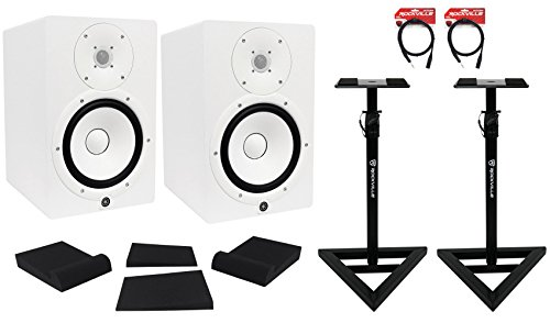 Package: (2) Yamaha HS8 W White 2-Way Bi-Amplified Nearfield Studio Monitors + Auralex MOPAD Studiofoam Monitor Isolation Pad + Pair of Rockville RVSM1 Heavy Duty Studio Monitor Stands + 2) Rockville RCXMB6-B 6' XLR to 1/4'' TRS Cables by YAMAHA