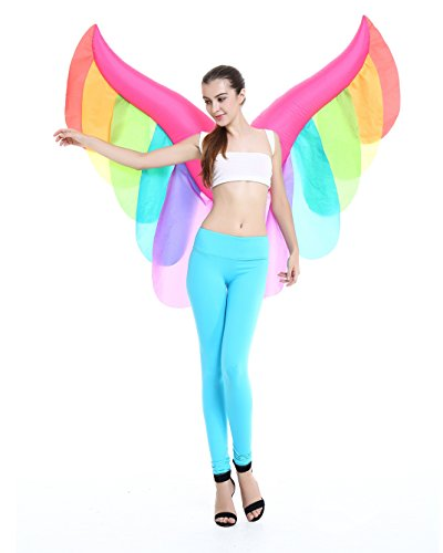 Seasonblow Inflatable Costume Novelty Adult Fancy Angel Wings Colorful Costumes Party Halloween Cosplay Dress up