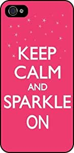 Rikki KnightTM Keep Calm and Sparkle On Tropical Pink Color Black Case Cover for Apple iPhone 4 / 4s Universal: Verizon - Sprint - AT&T-Unisex (New 2013 case design)