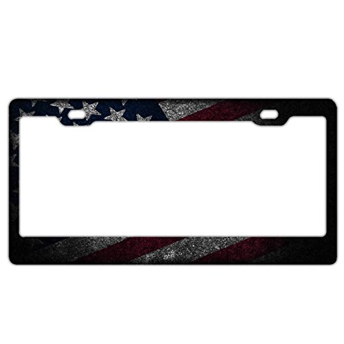 (Cool American Flag License Plate Frame,Waterproof USA Flag License Plate Covers,American Flag Cute Car Tag Frame)