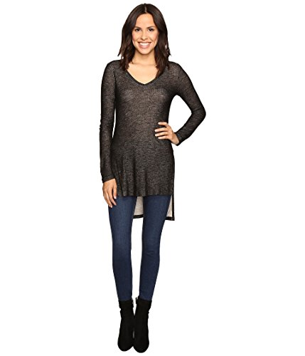 Splendid Women's Long Sleeve V-Neck Tunic Black Blouse