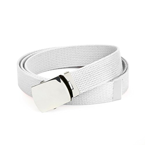 Hold'Em Military Canvas Webbing Belts for MEN'S–Polished Silver Buckle – Universal Heavy Duty Adjustable KEEP PANTS SNUG WITHOUT IRRITATING your (Nylon Stretch Belt)