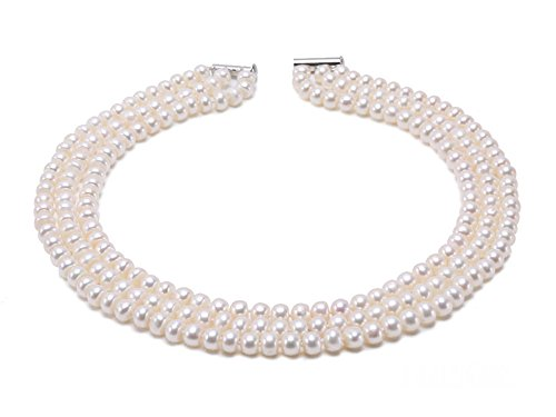 JYX 3-Row 8-9mm Flatly-Round Freshwater Cultured Pearl Necklace 16