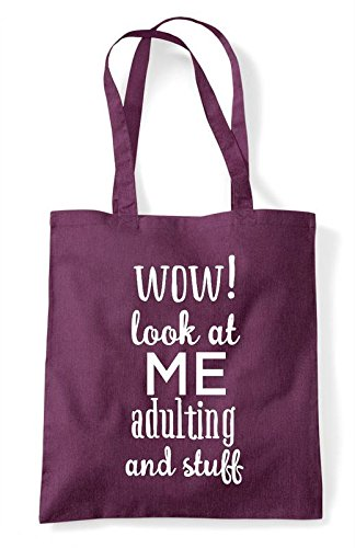 Shopper Funny Wow Plum Statement Stuff Adulating Look Tote At And Bag Me qTxTv4YH