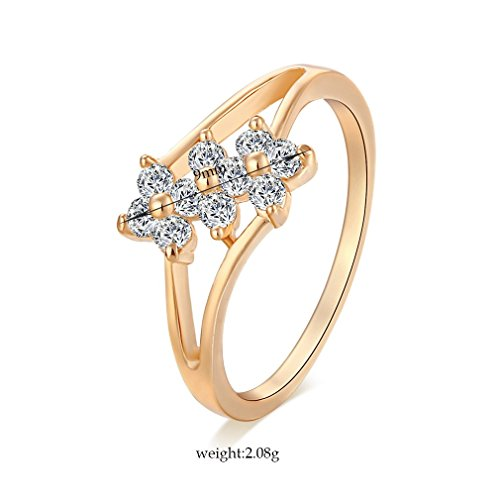 YAZILIND 18K Jewelry Design élégant mignon Bague fleur Favorite Girl plaqué or Decrationg cristal