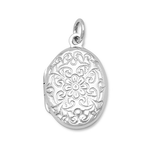 - Sterling Silver Oval Polished Floral Design Locket 21x15mm Locket Holds 2 Pictures Charm
