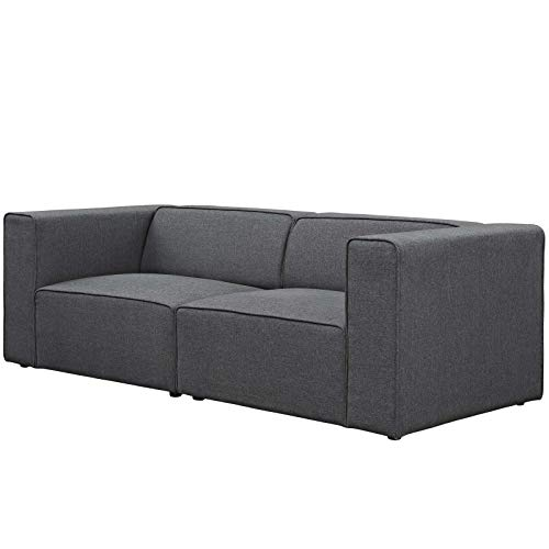 Modern Contemporary Urban Design Living Room Lounge Club Lobby Sofa Set, Fabric, Grey Gray