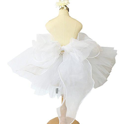 [Baby Girls 2 Layer White Tutu Mini Skirt with Flower for Wedding Party (1-2T)] (Custom Made Infant Halloween Costumes)