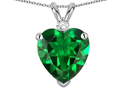 Star K Heart Shape Simulated Emerald Pendant Necklace 14 kt White Gold (Emerald Heart Shaped Pendant)