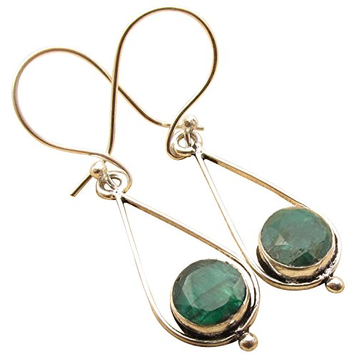Fashion Earrings, Original Cabochon EMERALD Gem 925 Silver Plated Birthday Gift Jewelry Brand (Cabochon Emerald Earrings)