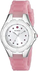 MICHELE Women's MWW12P000008 Jellybean Stainless Steel Watch with Pink Topaz Stones