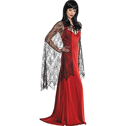 AMSCAN Spider Web Cape Halloween Costume Accessories for Women, One Size, Black -