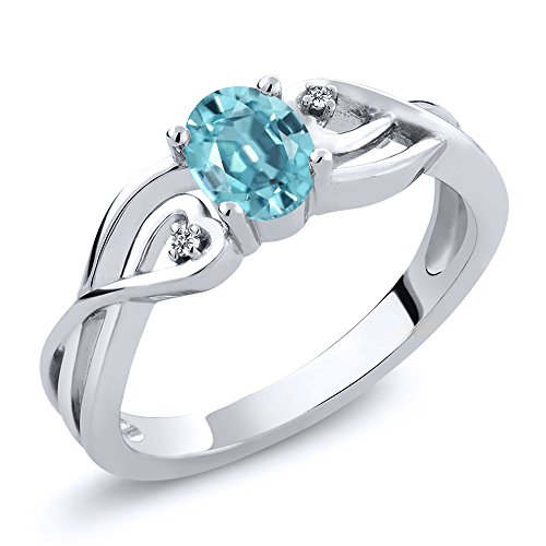 Gem Stone King 0.76 Ct Oval Blue Zircon White Diamond 925 Sterling Silver Women's Ring (Size 5)
