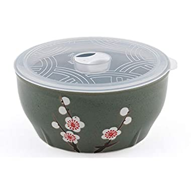 Microwave Ceramic Bowl With Lid Ideal For Food Prep Food Storage Meal Planning (Green Sakura 6 )