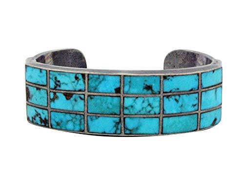 Navajo Handmade Bracelet, Circa 1960s, Morenci Turquoise, Channel Inlay, 6.25 ()