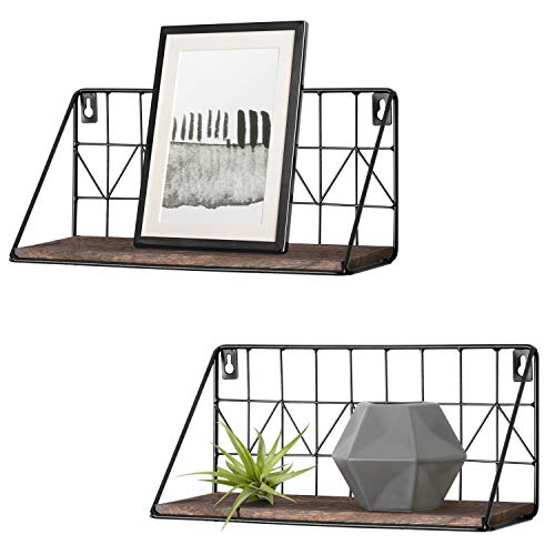 Mkono 2 Set Floating Shelves Wall Mounted Rustic Metal Wire Storage Shelves for Picture Frames, Collectibles, Decorative Items, Great for Living Room, Office, Bedroom, Bathroom, Kitchen, 11.5 Inches (Wall Shelf Bathroom)