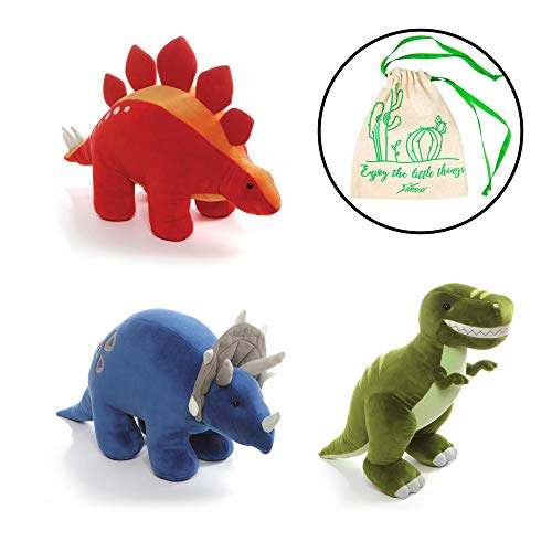 "GUND Chatter Dino 7"" Plushies Set of 3, with T-Rex, Stegosaur, and Triceratops, and Myriads Drawstring Giftbag"