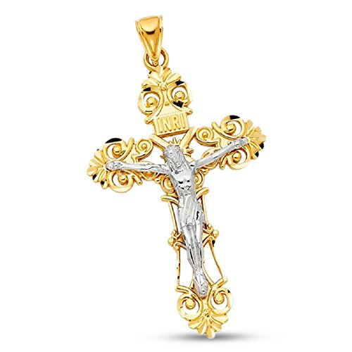 Solid 14k Gold Two Tone Mens Filigree INRI Hip Hop Style Jesus Cross Pendant Crucifix Religious Christ Charm 65 mm x 42 mm by ZenJewels