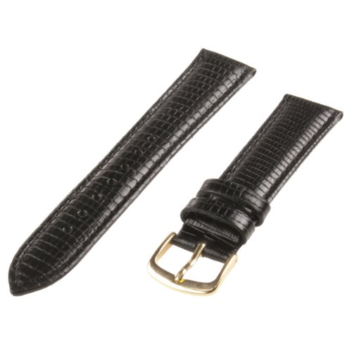 Republic Mens Lizard Grain Leather Hypo Allergenic Watch Strap, Black, Size 16 MM Regular
