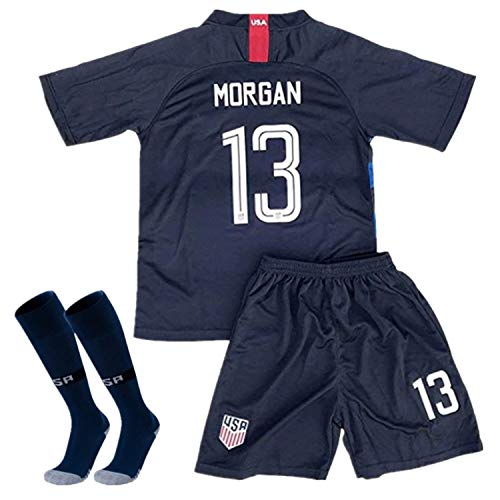 Alex Morgan #13 2018-2019 USA National Away Kids/Youth Socce Jersey Matching & Shorts & Socks Blue 5-6Y/20 ()