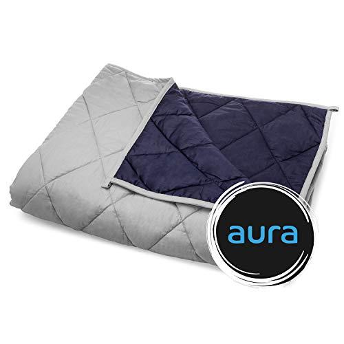 Cheap Aura Premium Weighted Blanket AuraGrid Technology Gray/Navy 60 x80 15lbs Black Friday & Cyber Monday 2019