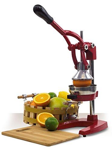 Home Cast Iron Manual Juicer - Juice Press Lemon Citrus Juicer - Hand Fruit Squeezer Orange Juicer (Red)