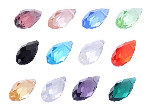 12 Mm Bicone (wanjin Wholesale Lot 240 pcs Teardrop Briollet 6x12mm Crystal Beads 12 colors with storage box)