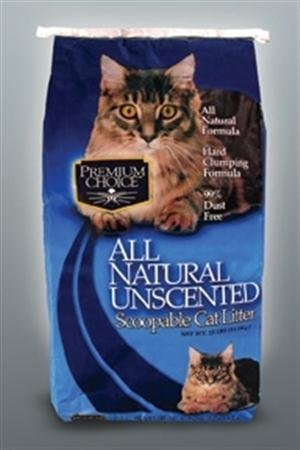 Premium Choice All Natural Unscented Scoopable Cat Litter, 40 Pound Bag
