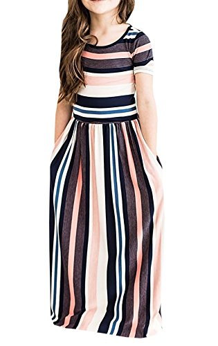 Syktkmx Cute Baby Girls Hit Color Long Dress Children Casual Beachwear Dress (3-4 Years, Multicoloured) (Dresses For Young Girls)