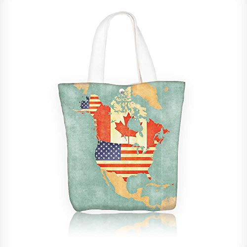 Canvas Tote Bags States and Canada Outline Map of the North America in Grunge Stylized Soft Colors Design Your Own Party Favor Pack Tote Canvas Bags by Big Mo's Toys W11xH11xD3 INCH