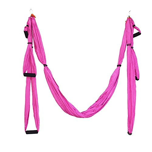 Parachute Fabric Swing Inversion Therapy Anti gravity Aerial Yoga Dip Stands Color Pink New