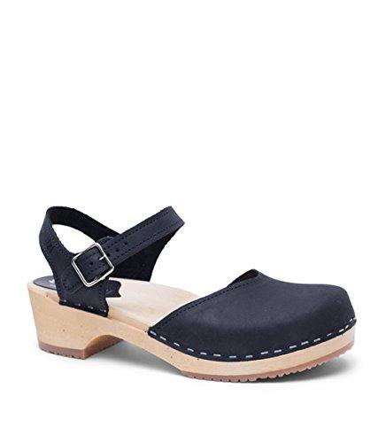Leather Clog Sandals - Sandgrens Swedish Wooden Low Heel Clog Sandals for Women | Saragasso Black (b), EU 39
