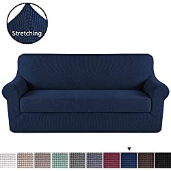 Durable Soft High Stretch Jacquard 2 Pieces Sofa Slipcover Navy Couch Covers Lycra Furniture Protector Machine Washable Spandex Sofa Covers, 3 Seater Sofa Size