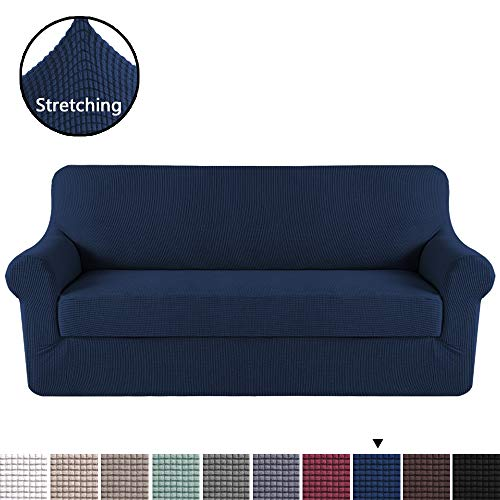 - H.VERSAILTEX Durable Soft High Stretch Jacquard 2 Pieces Sofa Slipcover Navy Couch Covers Lycra Furniture Protector Machine Washable Spandex Sofa Covers, 3 Seater Sofa Size