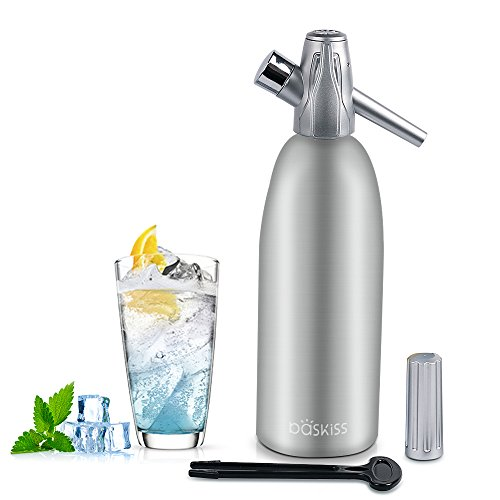 Baskiss Soda Siphon Maker, Making Sparking Water for Juice Drinks Cocktail, 1 Liter (Water Maker Seltzer)