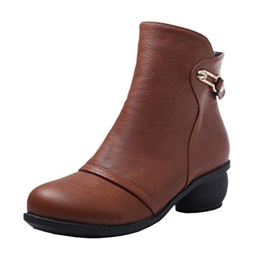 Mashiaoyi Women's Round-Toe Metal Block Heel Zip Short Boots Brown CAxNsGBxN7