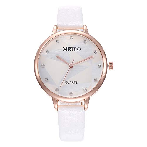 (Women Watches Solid Color Leather Strap Diamond Decoration Dial Casual Quartz Wrist Watch (White))