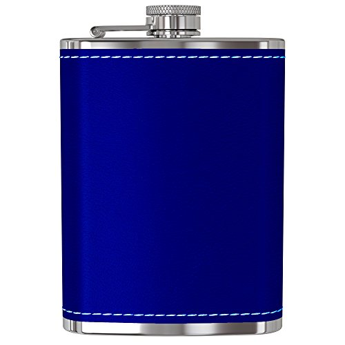 Raspberry Brandy - Flask for Liquor and Funnel - 8 Oz Leak Proof 18/8 Stainless Steel Pocket Hip Flask with Blue Leather Cover for Discrete Shot Drinking of Alcohol, Whiskey, Rum and Vodka | Gift for Men