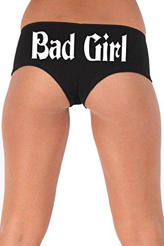 Women's Juniors White Bad Girl Booty Shorts Made in the USA : BLACK MEDIUM -